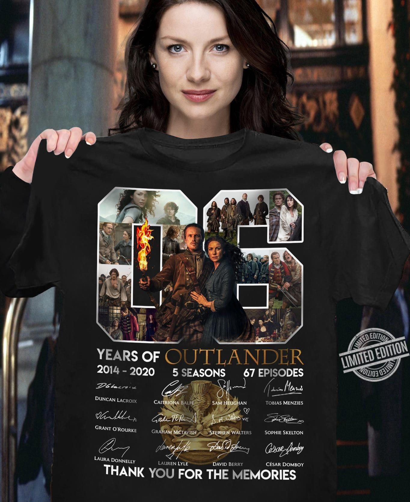 06 Years Of Outlander Members Signature And Thank You For The Memories Shirt