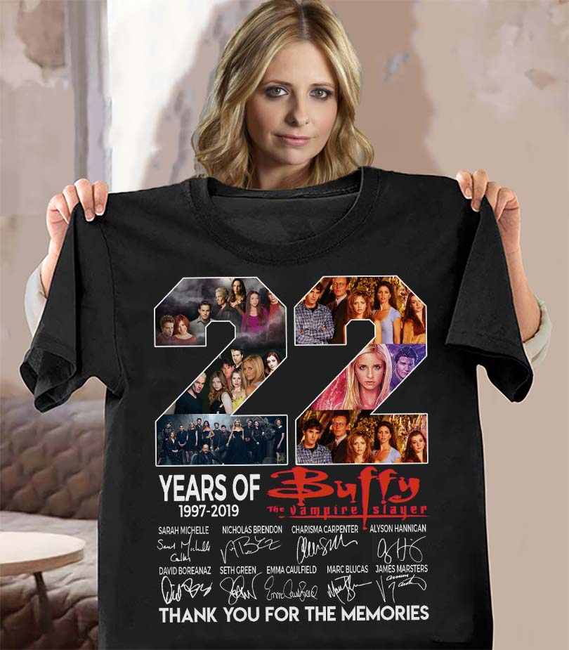 22 Years Of Buffy Vampire Slayer 1997 - 2019 And Signatures Thank You For The Memories Women Jersey Tank Top
