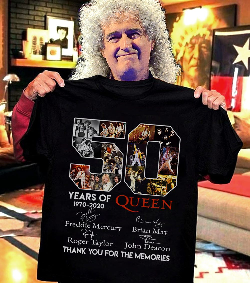 50 Years Of Queen 1970 - 2020 Thank You For The Memories Anhd Signatures Men T-Shirt
