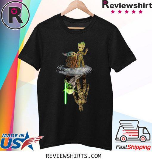 Baby Yoda and Baby Groot Water Reflection Master Yoda and Groot Sweatshirt