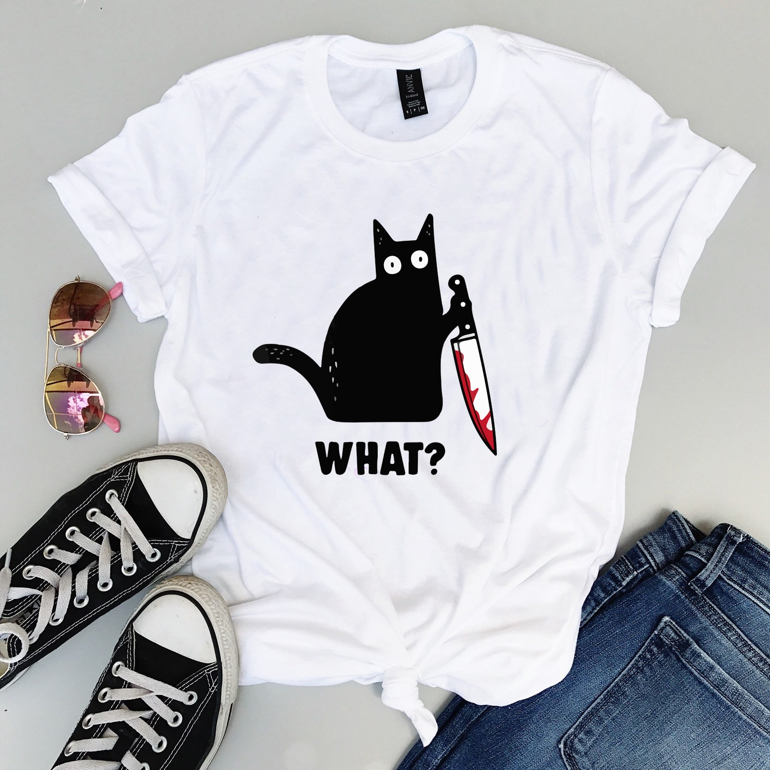 Bad cat with knife Women Jersey Tank Top