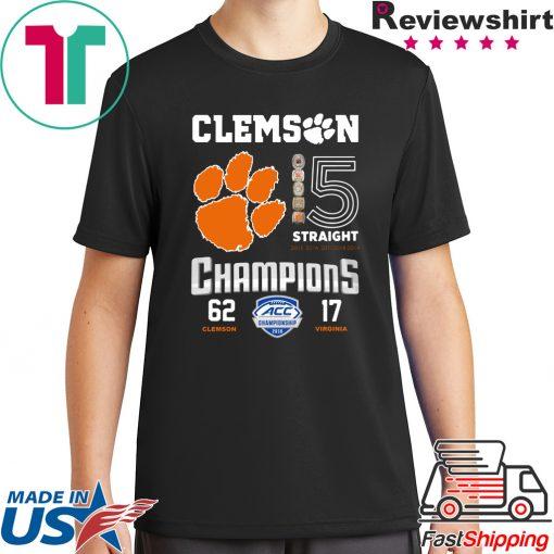 Clemson Tigers 15 Straight Champions Clemson 62 – 17 Virginia Long Sleeve T-Shirt