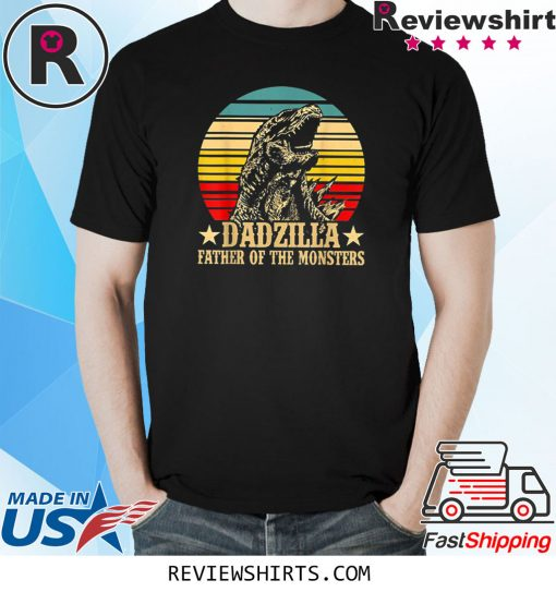 Dadzilla Father Of The Monsters Retro Vintage Sunset Long Sleeve T-Shirt